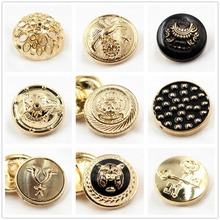 10pcs, gold button in gold, the world famous classic brand buttons, clothing accessories DIYmaterials, point oil metal buttons