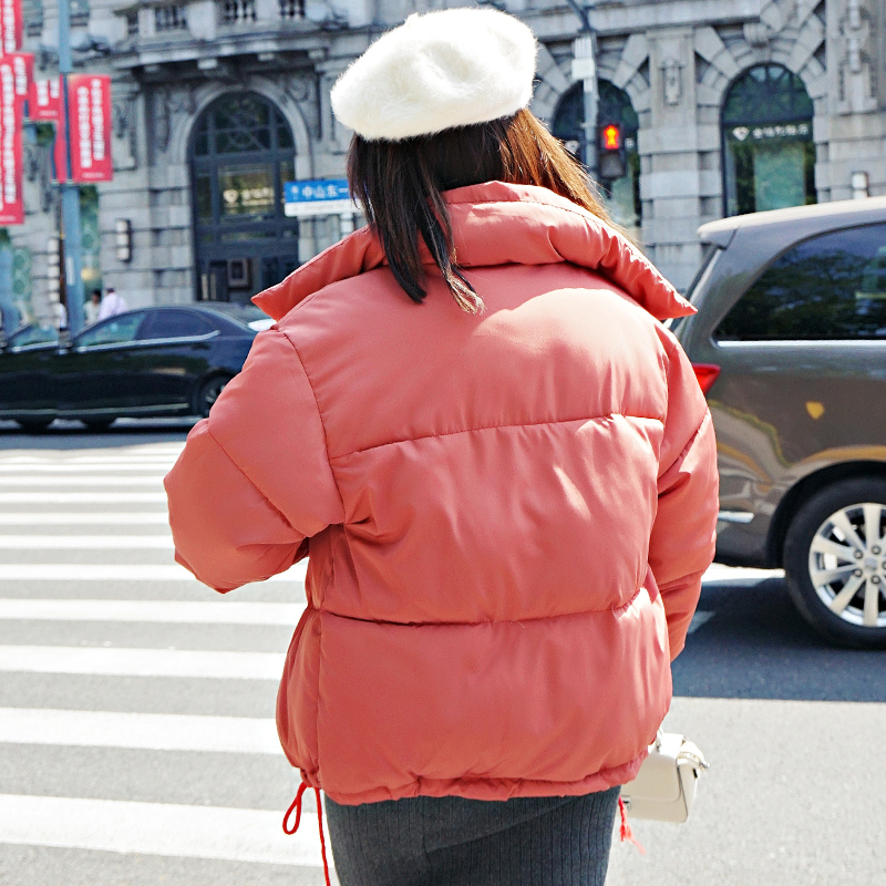 Korean Style 19 Winter Jacket Women Stand Collar Solid Black White Female Down Coat Loose Oversized Womens Short Parka 12