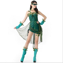 Halloween green Genie costumes for women elf TinkerBell Princess dress Elves skirt leaf Fairy cosplay costume adult clothes