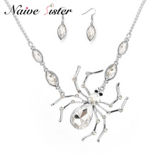 Gothic Spider Halloween Necklaces & Pendants For Women Silver Color Long Sweater Chain Necklace Clear Cubic Zirconia Jewelry(China)