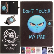 Case For Samsung Galaxy Tab A 10.1 (2016)SM-T580/SM-T585 Case Stand Cute Anger Face Oill Owl Flip PU Leather Wallet Tablet Cover