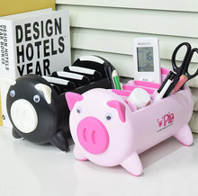 Pink Black Creative Cute Lovely Pig Cartoon Desk Storage Box Sundries Desktop Organizer Remote Control Pen Phone Container
