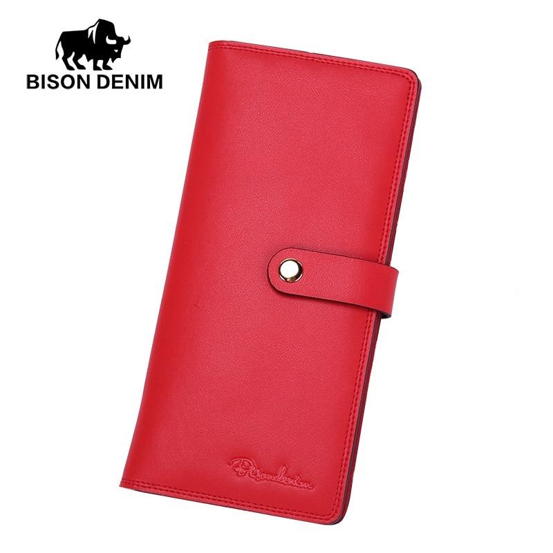 BISON DENIM fashion women wallets genuine leather long slim bifold wallet credit card holder with zipper pocket<br>