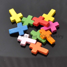 22x15mm 100Pcs Mixed Fluorescent Color Natural Wooden Cross Spacer Beads For Jewelry Making DIY 2017 New MT0250(China)