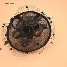 2017 Sinamay Wedding Fascinator Hair Bands For Women Black Beige Red Dot Mesh Fower Hair Fascinator Hair CLip Ladies Headwear(China)