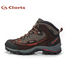 Clorts Men New Outdoor Hiking Boots Suede Leather Sports Shoes Waterproof Hiking Shoes Anti-Slip Mountain Boots