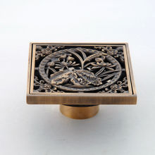 Free Shipping Euro Style Brass Art Caved Drain bath Shower Floor Drain 10*10 cm Square Antique Copper Finish Floor Drains ZR2704