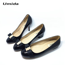 Umida Brand Women Shoes Bow Heels Shoes Classic Desiginer Women Pumps 100% Genuine Leather Medium Heel Shoes Pumps High Heels