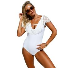 Lace Monokini Swimsuit V-neck Plus Size Bathing Suits Women High Waist Trikinis Black White Lace One Pieces Swimsuits