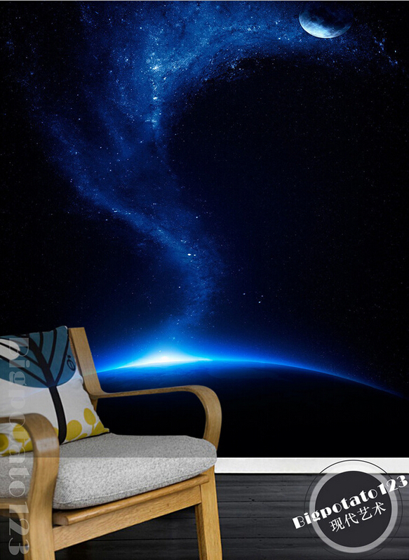 Custom 3D large mural,beautiful dream blue starry sky the moon landscape photography ,living room TV wall bedroom wallpaper<br>
