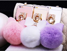 Luxury Mirror diamond bowknot fake rabbit fur ball Cellular Phone Back Covers For iPhone 7 6 6S plus 5 S 5S SE Case coque Shell