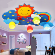 Kids ceiling lighting children's bedroom lamps and lanterns creative cartoon LED eye protection rainbow sun smile light remote