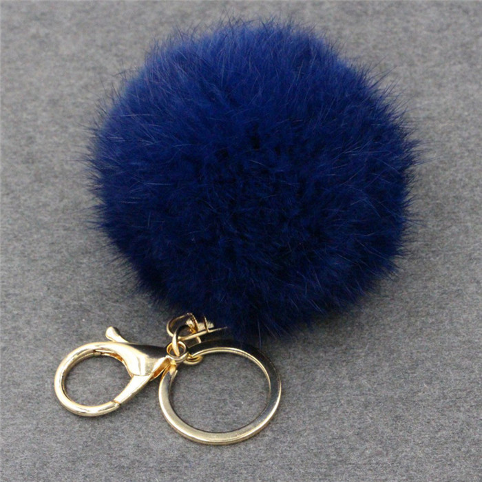 8CM Fluffy Pompom Real Rabbit Fur Ball Key Chain Women Trinket Pompon Hare Fur Toy keyring Bag Charms Ring Keychain Wedding Gift (17)