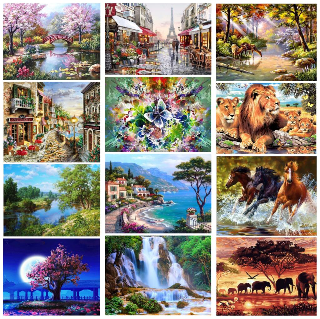 Full Rhinestone 5D DIY Diamond Painting Landscape Garden Embroidery Cross Stitch Mosaic Painting Home Decor Christmas Gift
