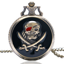 Cool Black & Bronze Pirate Skull Case Design Quartz Fob Pocket Watches with Necklace Chain for Men Women Best Gift Children(China)