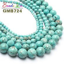 "Hot Sale15.5"" Natural Turquoises Stone Round Beads For Jewelry Making 6 8 10 12 14mm Spacer Beads Pick Size Free Shipping F00041"