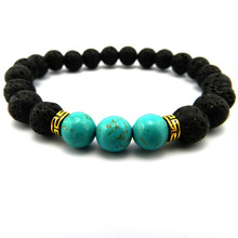 New Products Wholesale Lava Stone Beads Natural Stone Bracelet, Men Jewelry, Stretch Yoga Bracelet