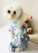Light Blue Dots Pet Dog Jeans Trousers Small Dog Jumpsuit Overalls Summer Dog Clothes