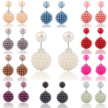 2017 hot fashion jewelry double simulated pearl stud earrings for women luxury shamballa beads statement earrings for women