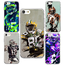 New Super Ball NFL Football Player Pattern Soft TPU Silicone Case Fundas for iPhone 5 5s 6 6s 6 Plus 6s Plus 7 7 Plus Capa