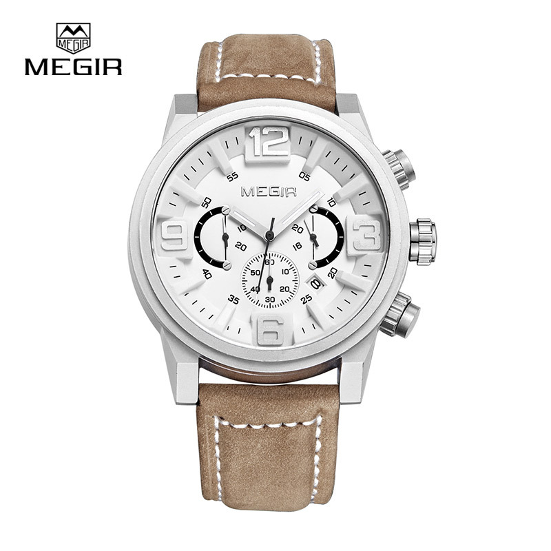 MEGIR new fashion casual quartz watch men large dial waterproof chronograph releather wrist watch relojes<br><br>Aliexpress