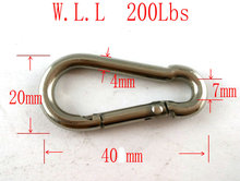 (M4) Stainless Steel Spring Snap Hook Carabiner M4 to M10, 40mm to 100mm SS304(China)