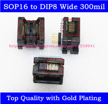 SOP16 to DIP8 Adapter Wide 300mil SOIC16 to DIP8 socket IC programmer adapter for EZP2010 EZP2013 RT809F CH341A Programmer(China)