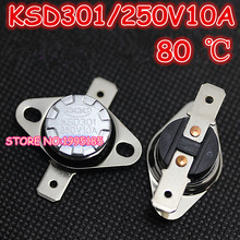 10Pcs/Lot KSD301 80 Degrees Celsius 80 C Normal Close NC Temperature Controlled Switch Thermostat 250V 10A(China)