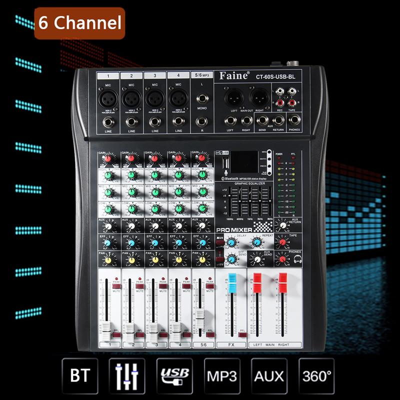 LEORY Profissional 6 Channel DJ Mixer Controller Metal DJ Mezclador With USB Bluetooth LED Screen DJ Console Wireless For Audio