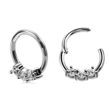 Crystal Captive Hinged  BCR Septum Nose Ring Clicker Earring Lip NippleTragus Hoops Segment Nez Cartilage Piercing Body Jewelry