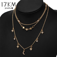 17KM New Vintage Multilayer Star Moon Rhinestone Necklace For Woman Alloy Ox Horn Elephant Geometry Necklaces Fashion Jewelry