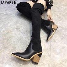 JAWAKYE diseño genuino cuero sobre la rodilla botas para las mujeres  stretch fabric punta estrecha 9 cm cuña botines largos muje. 5c29403d654d