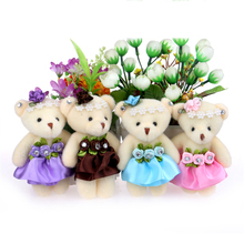 For Christmas Gift Wholesale 10PCS/lot 12CM lovely girls plush toy doll stuff&plush mini bouquets bear toy for promotional gift(China)
