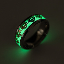 Fashion Superman Silver Ring Men Fluorescent Glowing Rings for Women New Original Luminous Ring Glow In The Dark Party Jewelry(China)