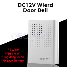 Free Shipping DC12V Wired Door Bell For Hotel/Apartment/house/villa/door access control system with 4 wires and ding-dong sound