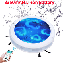Small Fresh Blue Color Smartphone WIFI APP Control Robot Vacuum Cleaners for Wet and Dry Cleaning 6 Colors 150ml Big Water Tank(China)