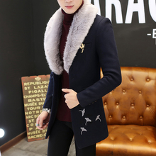 Embroidery Coat Men Detachable Collar Grey Black Blue Trench Coat Men Fur Collar Winter Coat Slim Fit Overcoat For Men 3xl(China)