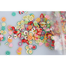 1000PCS/Pack 3D Nail Art Decorations Fimo Canes Polymer Clay Canes Nail Stickers DIY 5mm Fruit Feather Slices Design(China)