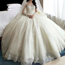 Hot Sale Dubai Crystal Flowers Ball Gown Wedding Dresses 2017 Long Sleeve Muslim Lace Appliques Wedding Gowns Bridal Dress(China)