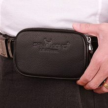 2017 New Men Genuine Leather Cowhide Vintage Travel Cell Mobile Phone Hook Belt Pouch Purse Fanny Pack Waist Bag