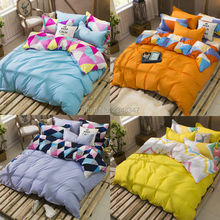Fashion Bright Contrast Color  4Pcs Twin/Full/Queen/King Size Bedding Linen Quilt/Duvet Cover Set Orange Yellow Pink Blue Purple