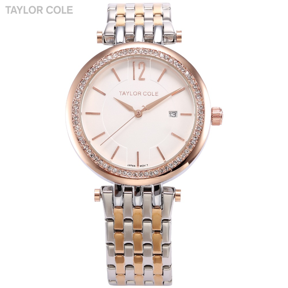 Taylor Cole Hodinky Women Bracelet Auto Date Rose Gold Silver Stainless Steel Strap Lady Rhinestone Muse Quartz Watch Gift/TC013<br>