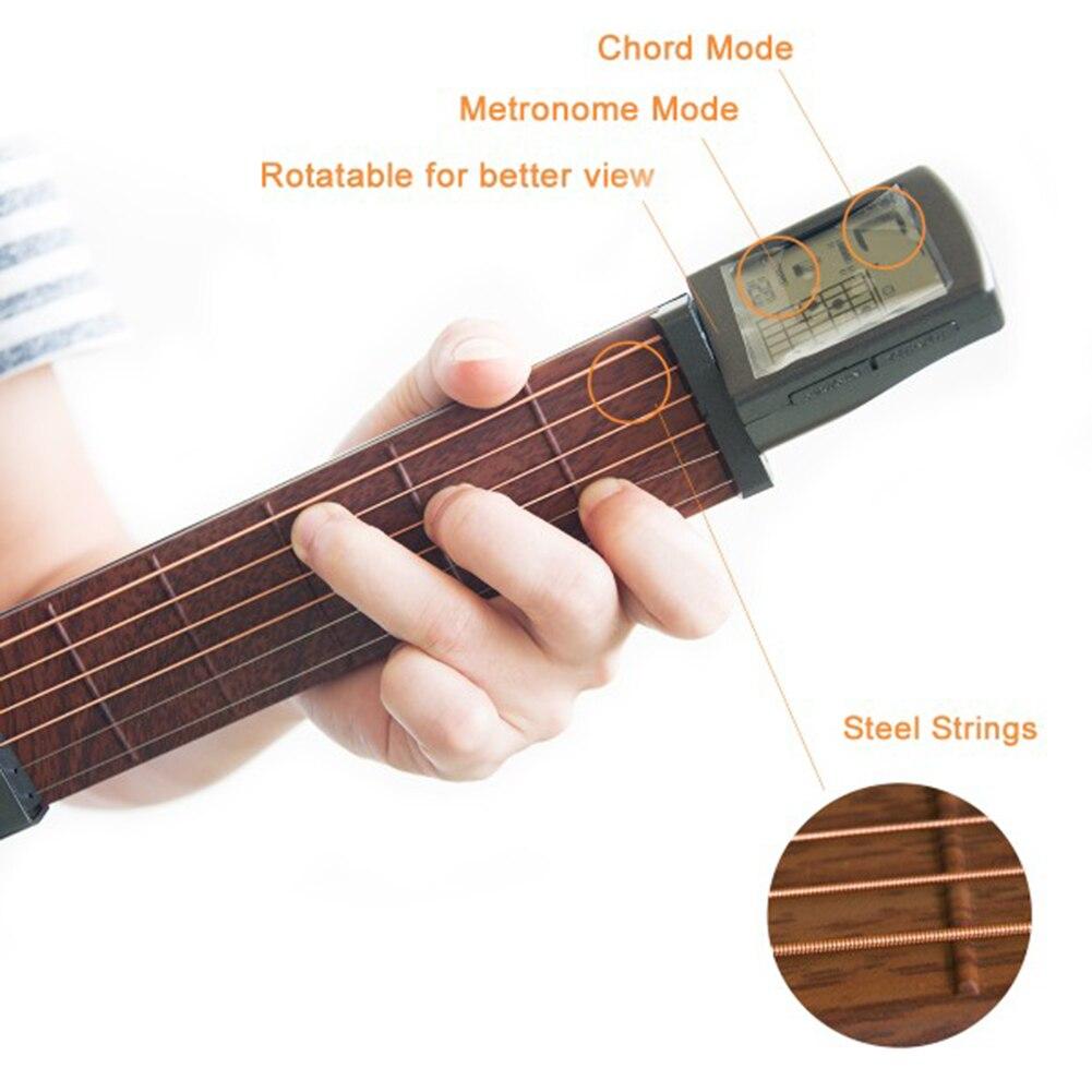 Guitarra de bolsillo para entrenamiento herramienta de pr/áctica para principiantes//port/átil con pantalla de tabla de acordes giratoria.