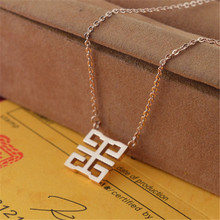 YUNRUO Fashion Brand Rose Gold Color Woman Jewelry Square Happiness Pendant Necklace 316L Stainless Steel Bijouterie High Polish
