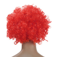 Red 2016 Adult Clown Afro Wig Curly Cool Synthetic Hair Halloween Cosplay Costume Football Fans Wig For Man Woman