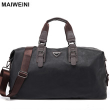 MAIWEINI New Fashion Leather Mens Travel Bags Large Capacity Waterproof Duffle Bag Vintage Hand Luggage Shoulder Bag