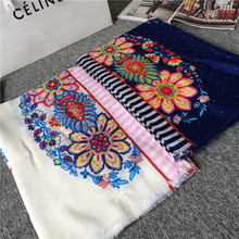 2015 High quality vintage Women ladies' fashion scarf polychrome flower print pashmina bicolor lace scarves all-match shawls