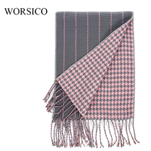 Houndstooth Cashmere Scarf luxury Brand 2017 Classic Pashmina Scarf Women Tassels Scarves Wraps Autumn Winter Men Blanket Shawls(China)