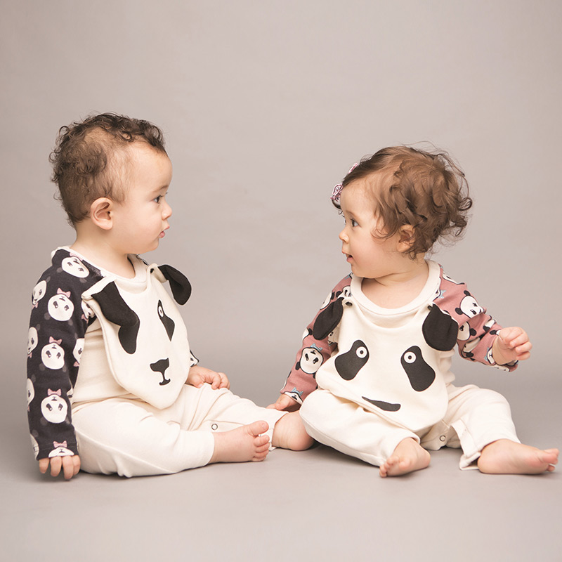 New Autumn Winter Cute Panda Pattern Baby Boys Rompers Newborn One Pieces Jumpsuits Infant Girls Clothes With Bibs Baby Costumes<br><br>Aliexpress