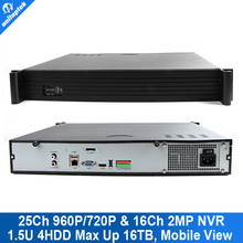 2015 Total 150m Access Resource 1.5U Casing 25CH 960P/16CH 1080P 4HDD Onvif P2P Network NVR 4Ch Alarm In Goolink View